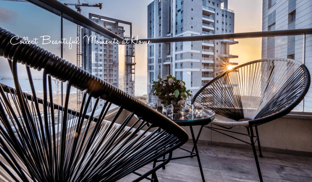 מבט אל השקיעה במרפסת בעיר ימים - שירית דרמן מעצבת פנים